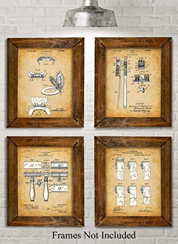 Original Bathroom Patent Art Prints - Set of Four Photos (8x10) Unframed - Makes a Great Gift Under $20 for Bathroom Decor