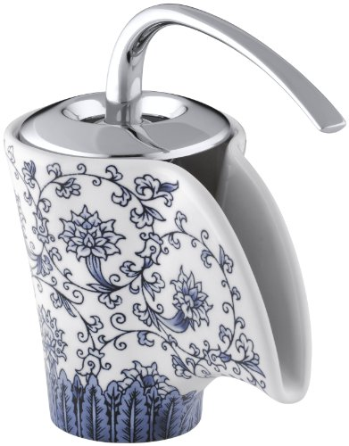 KOHLER K-11010-VB-0 Vas Ceramic Faucet with Imperial Blue Design, White -