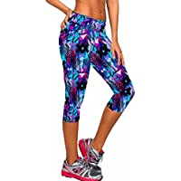 ancia Womens bajera Workout activo Capri Leggings tartán Stretch Tights