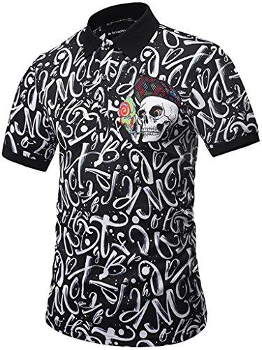 PIZOFF Mens Hipster 3D Print Button Down Polo-Shirt