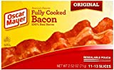 Oscar Mayer, Fully Cooked Bacon + FREE Quality Tongs, 100% REAL BACON, 9-11 Slices per Package, (Pack of 6)
