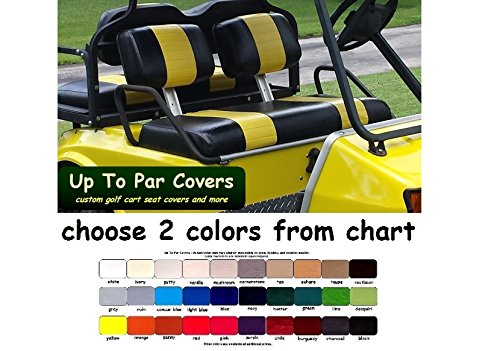 Club Car Pre-2000 DS Custom Golf Cart Front Seat Cover Set PLUS Rear Seat Cover Set Combo - TWO STRIPE STAPLE ON by Up To Par Covers