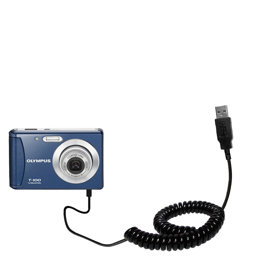 Uses TipExchange Technology Gomadic Coiled Power Hot Sync USB Cable Suitable for The Olympus T-100 Digital Camera with Both Data and Charge Features