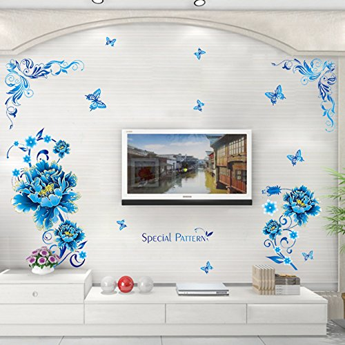 EMIRACLEZE Christmas Gift Hot Sale Blue Flowers Special Pattern Removable Mural Wall Stickers Wall Decal for Living Room and Television Background (Sexy Tv Stars)