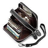 Women's Genuine Leather RFID Blocking Secure Credit Card Holder Zip Around Small Purse
