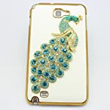 bling 3D clear case light blue peacock diamond crystal hard back cover for samsung galaxy note 1 n7000 i9220 i717