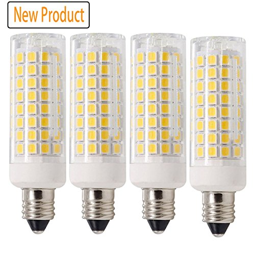 All-New LED E11 Bulb, Dimmable JD E11 Candelabra Base Bulbs, 75W-80W Equivalent 750LM, 120V 7.5w Candelabra Bulbs 102x2835SMD (4-Pack)…(warm white)