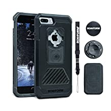 Rokform Aluminum and Carbon Fiber Fuzion Series Protective Phone Case for iPhone 7 Plus includes universal magnetic car mount and Patented twist lock. Made in USA (Black)