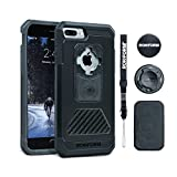 Rokform iPhone 8 & 7 PLUS Fuzion Pro Series Aluminum & Carbon Fiber Rugged Magnetic Phone case with twist lock & universal magnetic car mount (Black)