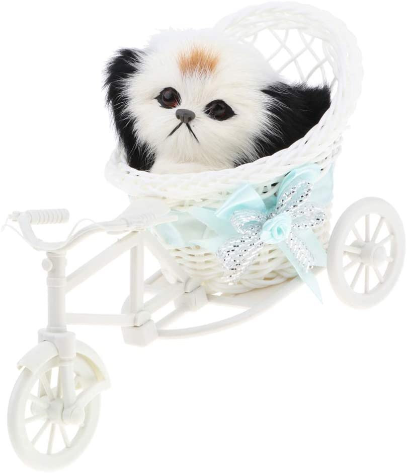 Baoblaze Figura de Animal de Peluche de Simulación en Triciclo Juguete de Imaginación para Niños - Perro b