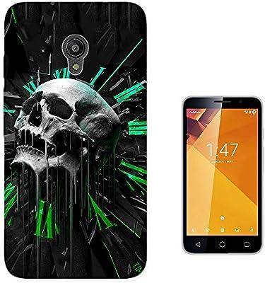 003458 – abstracto tiempo diseño de calavera Vodafone Smart Turbo 7 Fashion Trend Case Funda Silicona todos los bordes protección Gel Funda