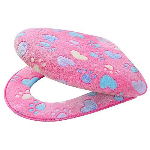 (WOCACHI Toilet Seat Cover Pads Coral Fleece 2 Piece Set Potty Toilet Cover Toilet Mat Comfortable Cushions Sit (Pink))