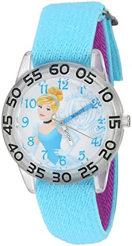 Disney Girl's 'Cinderella' Quartz Plastic and Nylon Automatic Watch, Color:Blue (Model: W002933)