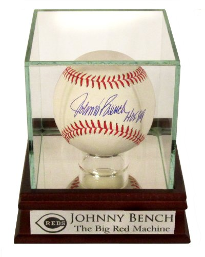 "Cincinnati Reds Johnny Bench Autographed Official MLB Baseball with ""HOF 89"" Inscription with Custom Case (COA)"