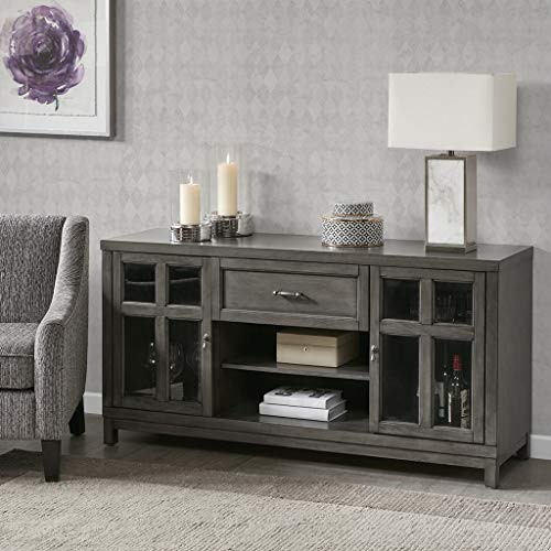 Madison Park Signature MPS133-0196 Helena Media Console Cabinet - Modern Mid-Century, Rustic Design Buffet/Sideboard Accent Living Room Furniture, 60