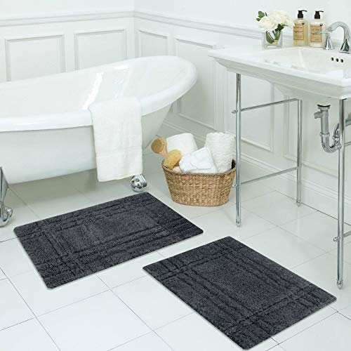 Sheen Decor Cotton Cross Tiles Collection : Pure Cotton Banded Bathroom Mat   Durable Luxury Feel Bath Rug   Extra Absorbent Machine Washable Shower Mat, Pack of 2 - (17X24 ()
