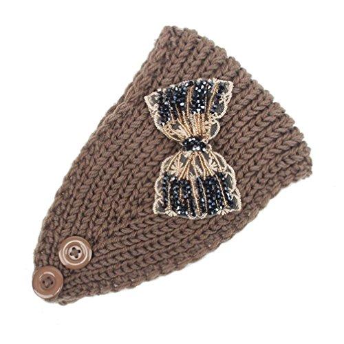 Women Head Wrap Soft Hair Band Lady Rhinestone Headwear Turban Twist Headband (Coffee) - 3