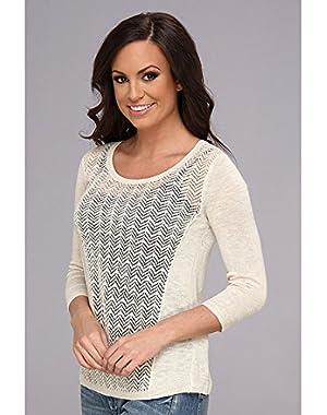 Women's Marina Pointelle BTN BK Nigori Sweater LG (US 10-12)