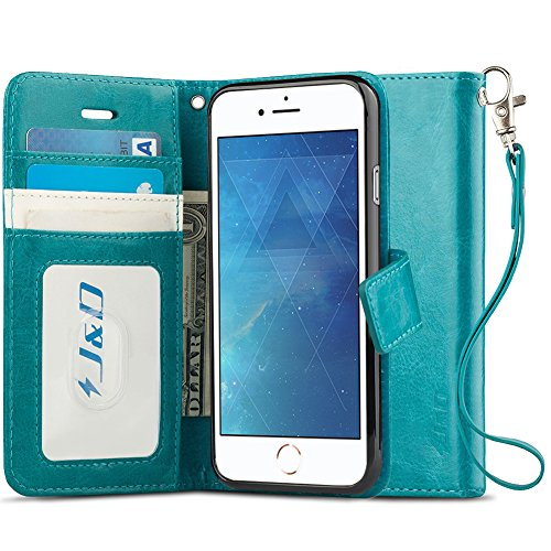 J&D Case Compatible for iPhone 8 Plus Case, iPhone 7 Plus Case, [RFID Blocking Wallet] [Slim Fit] Heavy Duty Protective Shockproof Flip Cover Wallet Case for Apple iPhone 8 Plus/7 Plus Wallet Case