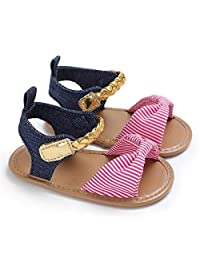 Puseky 0-18M Baby Leather Shoes Infant Girls Sandals Striped Bowknot PU Rubber Sole First Walkers (Color : Pink, Size : 12 (0-12M))