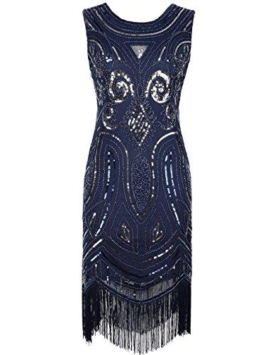 Kayamiya Women's Vintage 1920s Sequined Beaded Fringe Gatsby Flapper Occasion Dress M Blue
