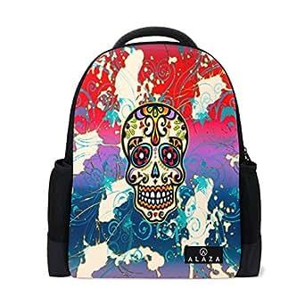 ALAZA Mexico Sugar Skull Dia De Los Muertos Polyester Backpack School Travel Bag