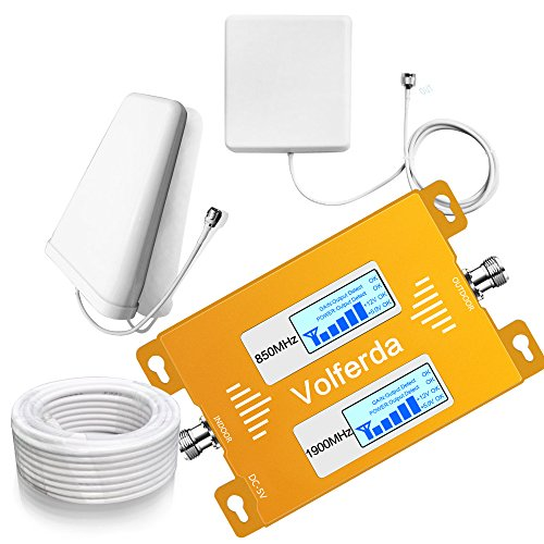 Cell Phone Repeater - Volferda Cell Phone Signal Booster for Home 850MHz/1900MHz Band 2 and Band 5 Dual Band Mobile Repeater for 2G/3G/4G Verizon Sprint U.S.Cellular T-Mobile AT&T