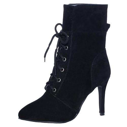 Coolcept Mujer Elegante Tacon De Aguja Otono Vestir Botines con Cordones: Amazon.es: Zapatos y complementos