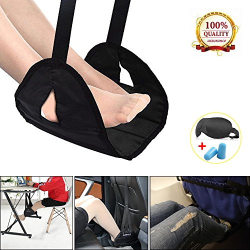 Airplane Footrest Foot Rest for Airplane Travel Office, Portable Hammock Footrest with Memory Foam Plus Sleep Mask and Earplugs Travel Accessories Portable Carry-on for Sleep Relax by Anxingo