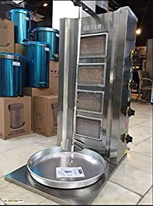 COMMERCIAL industrial GRADE FULL PROFESSIONAL SET Meat Capacity 50 kg. / 110 lbs. NATURAL GAS 4 BURNER Rotating Spinning Grills Vertical Broiler Shawarma Gyro Doner Kebab Tacos Al Pastor Grill Machine