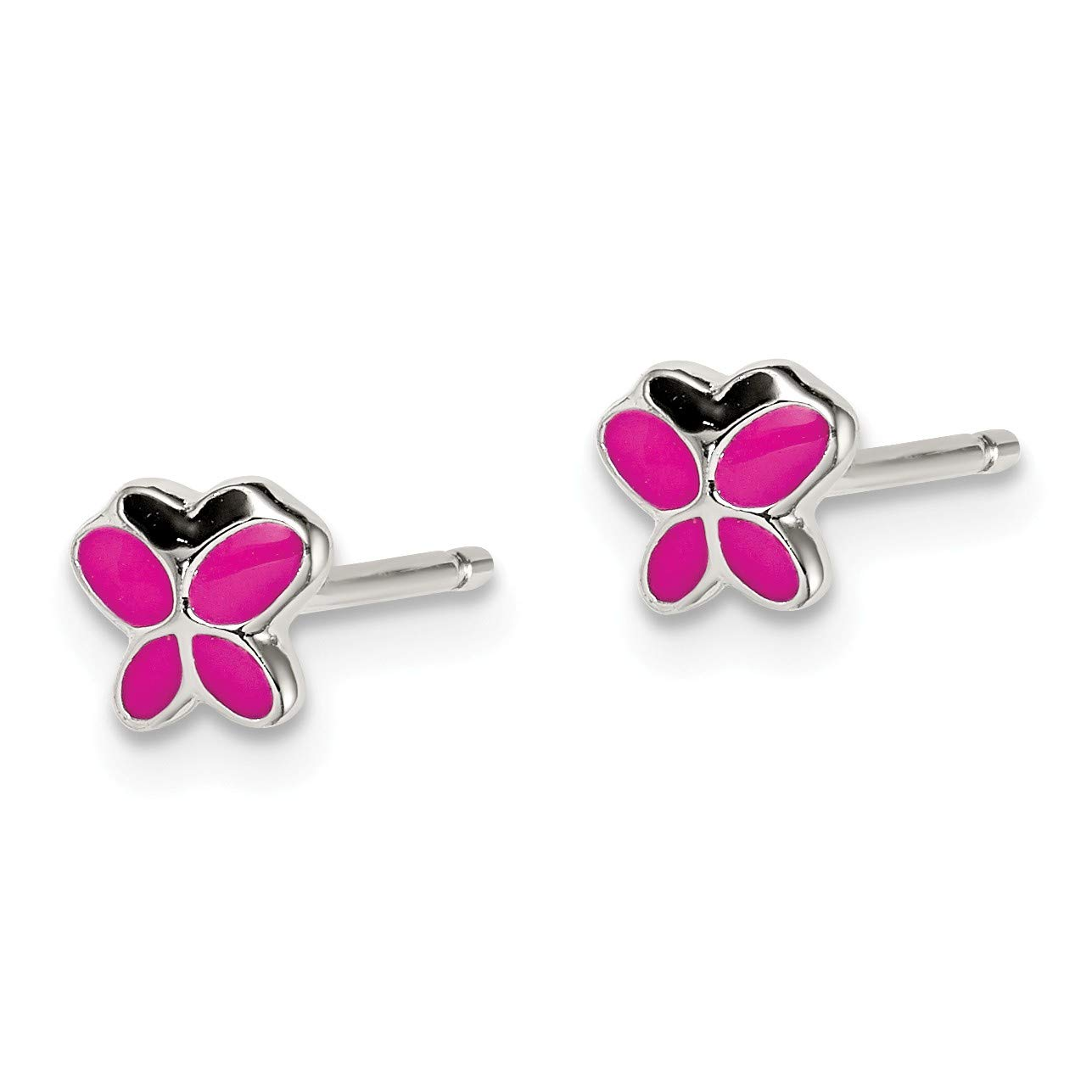 Sterling Silver Enameled Pink and Black Butterfly Post Earrings