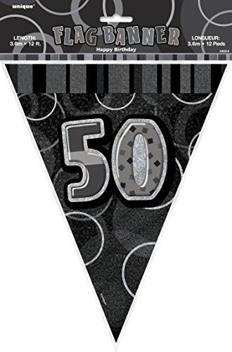 12ft Black Sparkle Happy 50th Birthday Pennant Flag Banner Party Decoration .