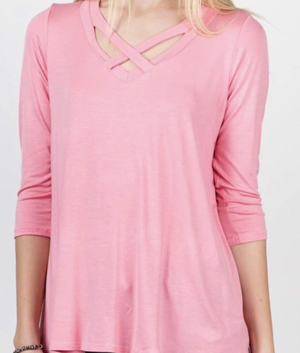 Crisscross at Neckline and Loose fit top Blush Pink 3//4 Sleeve