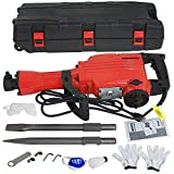 Smartxchoices Electric Hammer Demolition Jack Hammer Drill Concrete Breaker Power Tool Kit Punch & Chisel Bits w/Case and Gloves 2200W Heavy Duty