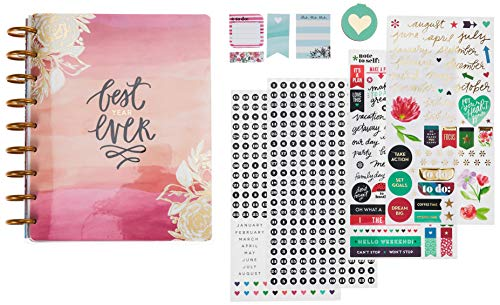 me & my BIG ideas The Happy Planner Box Kit - Best Year Ever Theme - 12 Month Undated - Vertical Layout - 4 Sheets of Stickers, 2 Magnetic Bookmarks, 4 Sticky Note Pads - Classic Size