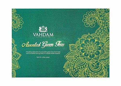 Vahdam Premium Loose Leaf Green Tea Sampler- 5 Assorted Gourmet Teas Including 3 Varieties of Darjeeling Organic Green Teas, Rose Herb Green Tea and Green Tea Chai  5 Teas, Make 25 Cups -