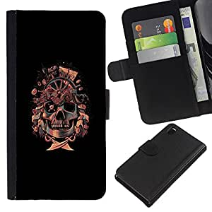 LECELL--Cuero de la tarjeta la carpeta del tirón Smartphone Slots Protección Holder For Sony Xperia Z3 D6603 -- Bandera pirata del cráneo de --