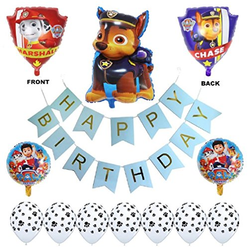 (Paw Patrol Birthday Party Balloons - Complete Kids Themed Party Decorations - Helium Balloon Arrangement & Banner - Chase Rubble & Dog Paw Print Bundle by Jolly Jon)