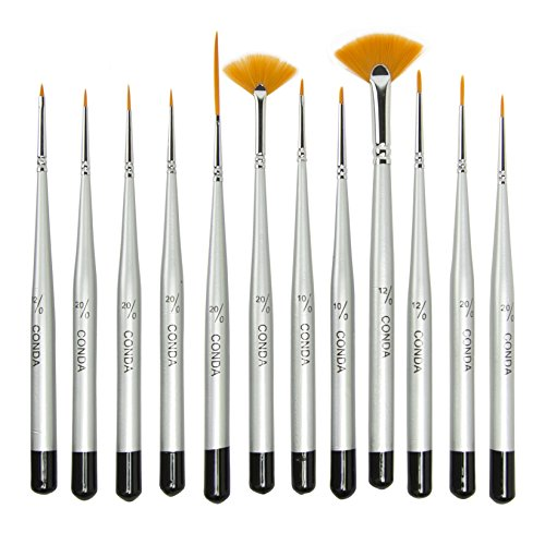 Grass Comb - CONDA Fine Detail Paint Brush Set - 12 Miniature Brushes for Detailing & Art Painting - Acrylic, Watercolor, Oil,Models, Airplane Kits, Nail Artist Supplies