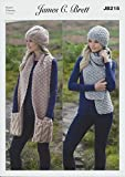 James Brett Amazon Super Chunky Knitting Pattern Ladies Cable Knit & Textured Hats & Scarves by James C Brett Patterns