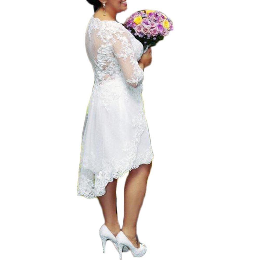 Liliesdresses Women\'s Hi Lo Tea Length Bridal Gown 3/4 Sleeves Applique  Garden Dress Plus Size Wedding Dress Ivory 10