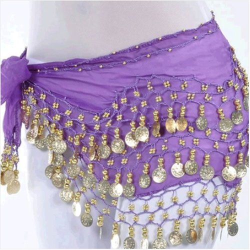 [OPCC Belly Dance Hip Skirt Scarf Wrap Belt costume with Rows Gold Coins (purple)] (Purple Belly Dance Costume)