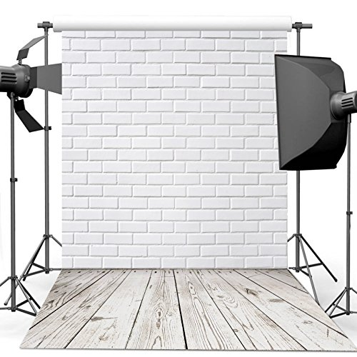 Dudaacvt 10x10ft Vinyl Photography Background White Brick Wall Wood Floor Theme Backdrops Photo Studio Backdrop Props MQ0061010