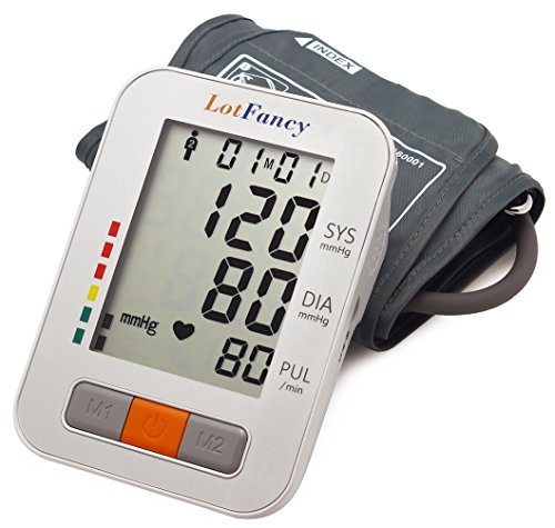 LotFancy Upper Arm Blood Pressure Monitor - Automatic Digital BP Machine, 2 User Mode, Irregular Heartbeat Detector, 4 Inch LCD, FDA Approved (No Talking, M Cuff 9 -13