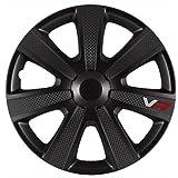 """Autostyle PP 5155B Radkappen Radzierblenden VR PRO Schwarz Carbon-Look 15"""" Zoll 4-er Set"""