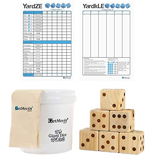 Of Dice Game Life (Giant Wooden Playing Dice Set with Roll Bucket and Scorecard, Outdoor Lawn Yard Game - Includes 6 Dice, Dry Erase Scorecard W/ Marker, Roll Bucket, Carrying Bag (3.5
