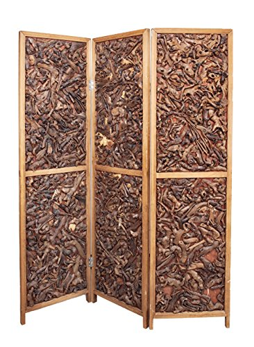 3 Panel Walnut Color Solid Wood Screen Room Divider Rustic Design, by Legacy Decor