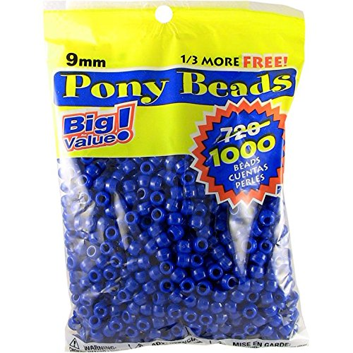Darice Opaque Blue Pony Beads - Great Craft Projects for All Ages - Bead Jewelry, Ornaments, Key Chains, Hair Beading - Round Plastic Bead With Center Hole, 9mm Diameter, 1,000 Beads Per Bag
