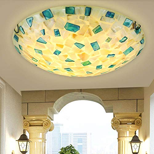 XNCH Tiffany Style Ceiling Light, Mediterranean Ceiling Lamp, American Creative Round/Stained Glass Recessed Light Chandelier for Living Room Hallway E27-50-Warmlight