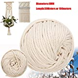 FINCOS 6mm Handmade Natural Cotton Rope Macrame Wall Hangings Plant Hanger Craft Making Knitting Cord Rope - (Color: 6mm x 100meters)